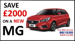 save £2000 on a new mg